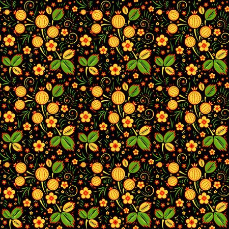 khokhloma: Khokhloma vector seamless pattern in russian tradition, rblack background