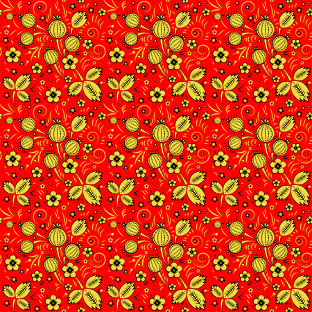 khokhloma: Khokhloma vector seamless pattern in russian tradition, red background