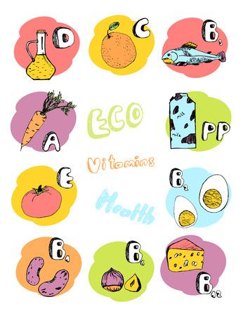 Vector set of basic vitamins from food Illustration
