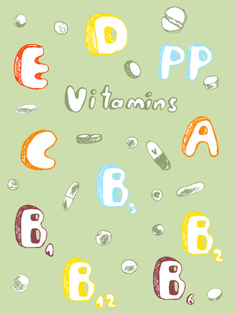 vitamins: Vector vitamins and pills in the sketch style, colors