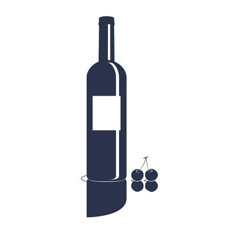 red wine bottle: L�nea arte de la botella de vino tinto y las cerezas Vectores