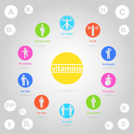 vitamins: Square poster of the vitamins on light background Illustration