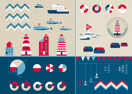 lighthouse: Vector templates for any info graphics in nordic style. Lighthouses and whales