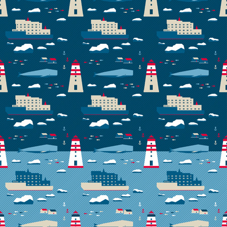 scandinavia: vector seamless pattern in nordic style. Whale and lighthouse