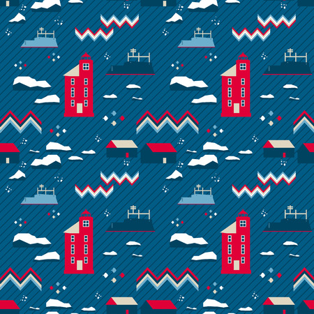scandinavia: vector seamless pattern in nordic style. Red lighthouse