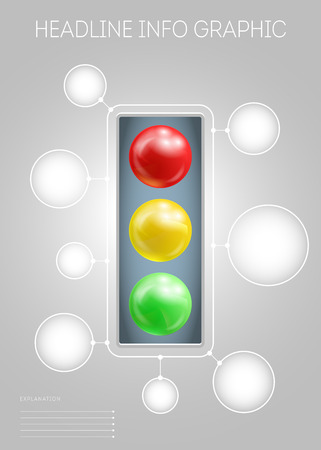 traffic lights: Vector template of page with 3D-effect metaballs, traffic lights