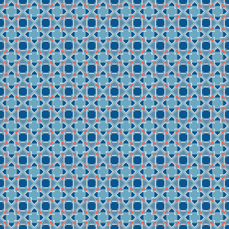vector blue and red mosaic geometric arabic traditional pattern