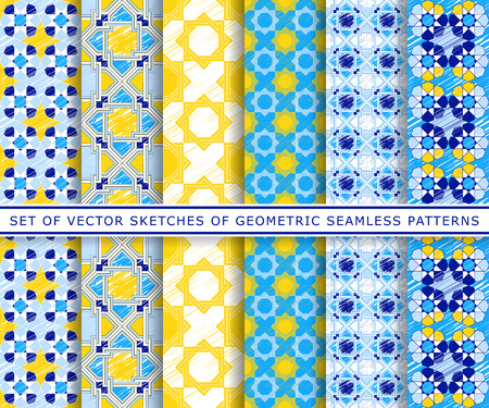yellow vector: Set of six blue and yellow vector geometric sketch patterns