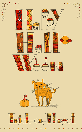 sceleton: Vector doodle design for halloween card. Trick or Threat