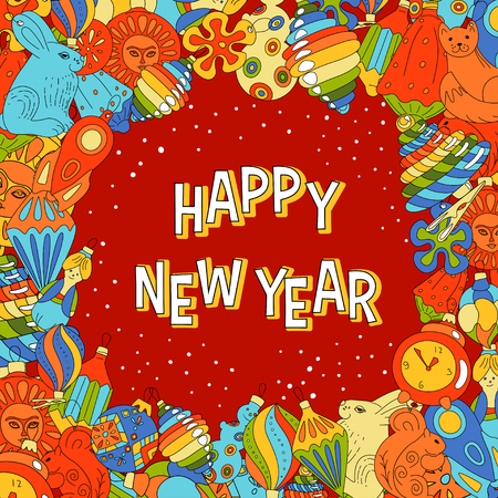 new year party: Vector greeting card with Christmas toys for new Year party