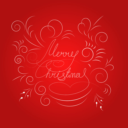 background: Vector card template with Merry Christmas lettering on red background