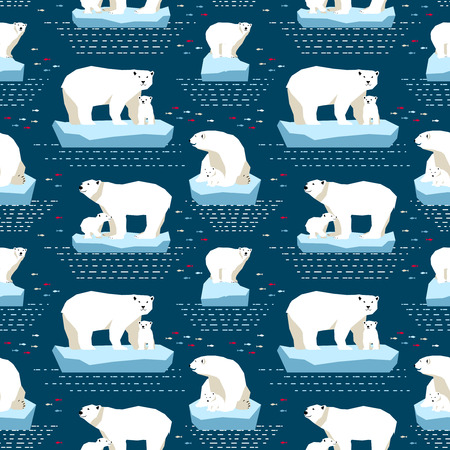polar: Vector seamless pattern polar bears on isberg and dot-dash in dark blue background