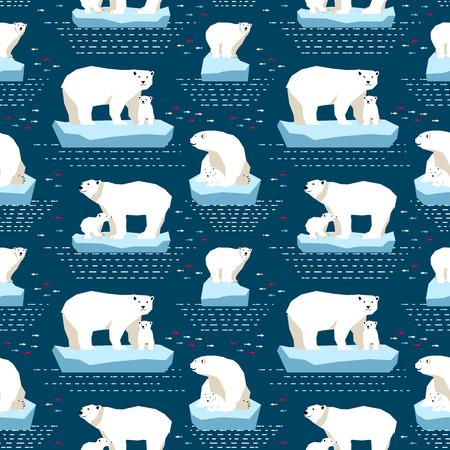 oso blanco: Vector sin patrón osos polares en Isberg y de puntos y rayas en el fondo azul oscuro