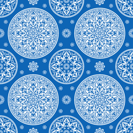 mediterranian: Vector luxurious mediterranian vintage seamless pattern, blue and white Illustration
