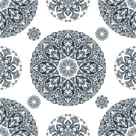 sophisticate: Elegant vector lace vintage seamless pattern, cool gray and white