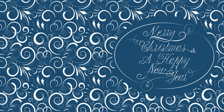 calligraphical: Blue Christmas and a New Year card with a calligraphical inscription Illustration