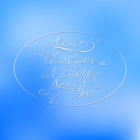 solemn: Vector Christmas calligraphy on a blue blur background