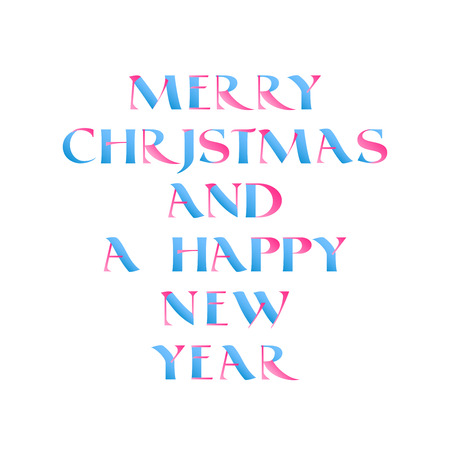 solemn: Vector Christmas lettering in blue and pink gradient