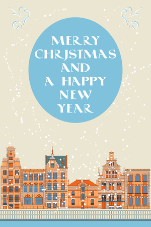 old city: Vector Lovely Christmas card with an Old City
