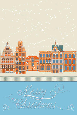 old city: Merry Christmas greeting card, Old city, vector illustration Illustration
