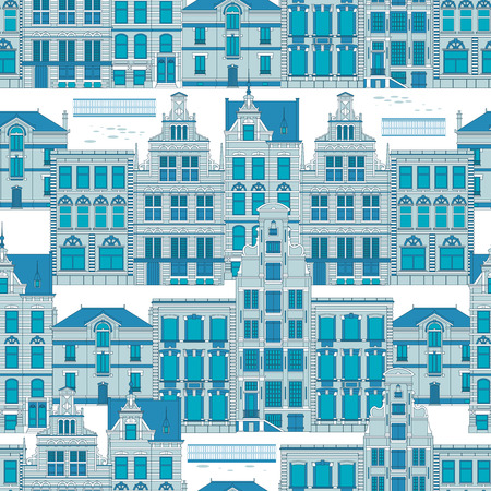 old city: Vector seamless pattern Old City in blue