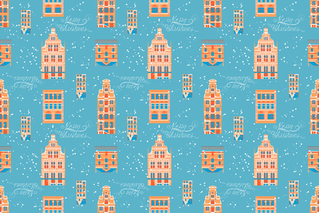 old city: Vector seamless pattern Christmas in Old City Illustration