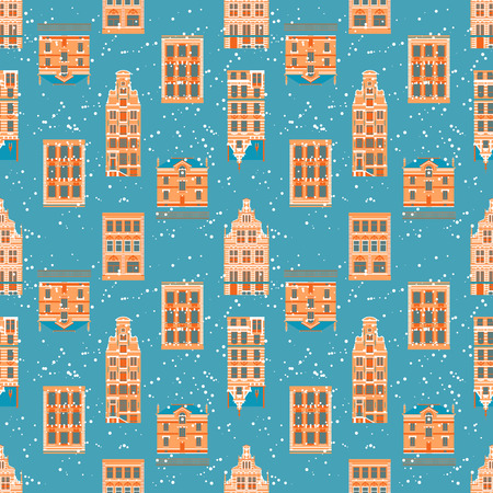 old city: Vector seamless pattern Old City in vintage style Illustration
