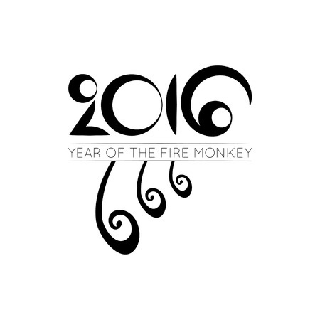the tail: Vector monkey tail of 2016 lunar year
