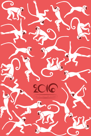 cliche: Chinese New years greeting card with the jumping monkeys on red background