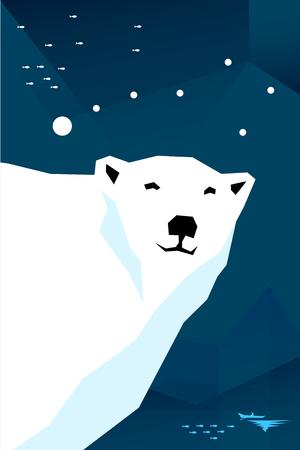 ursa: Vector illustration. Polar bear with constellation Ursa minor