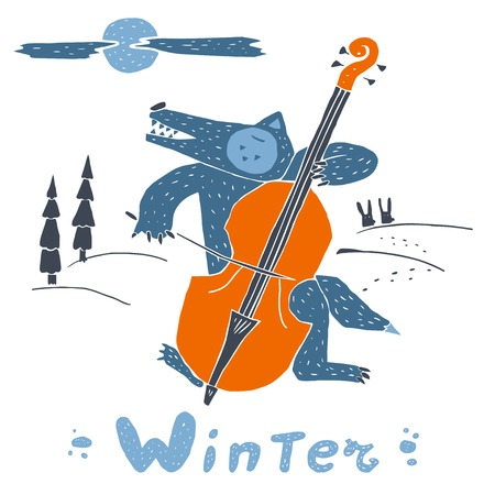 double bass: Vector template for postcard, winter theme, wolf and double bass