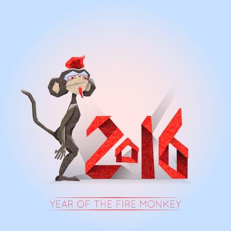 lunar calendar: Sign of New 2016 year of Chinese lunar calendar. Dark monkey-hipster on a light background Illustration