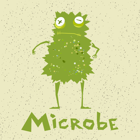 catroon: Vector illustration green funny microbe in catroon style