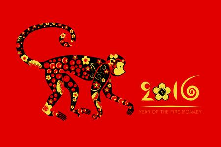 flores chinas: Hor�scopo oriental, a�o del mono, khokhloma sobre un fondo rojo