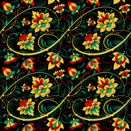 slavonic: Floral vector seamless pattern in Khokhloma style
