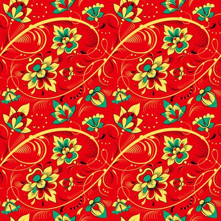 khokhloma: Floral vector seamless pattern in Khokhloma style