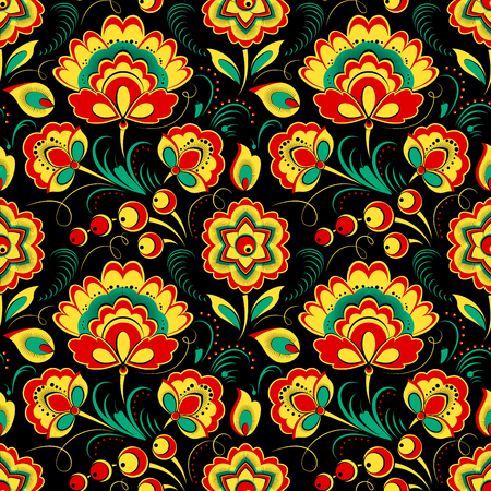 matrioshka: Floral vector seamless pattern in Russian Khokhloma style, black background