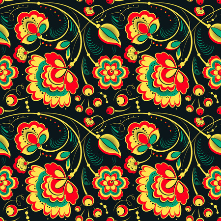 slavonic: Floral vector seamless pattern in slavonic style, khokhloma