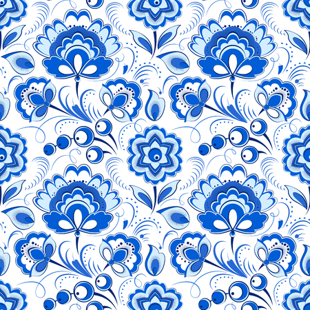 country style: Vector floral seamless pattern in russian country style Illustration