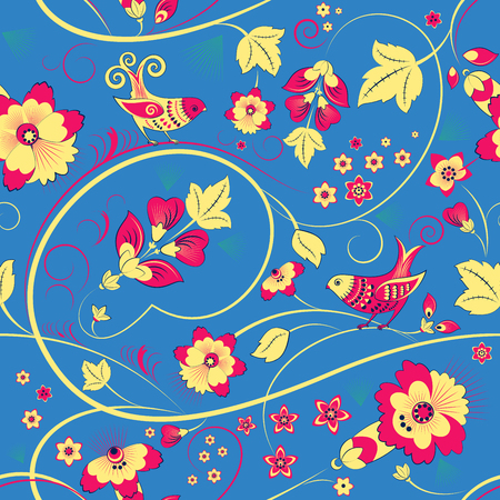 flowerbed: Vector floral seamless pattern with birds on blue background