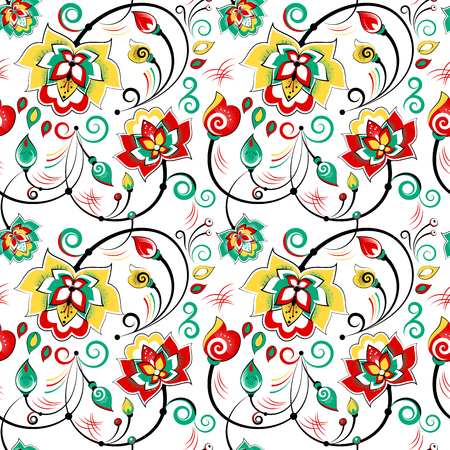slavonic: Floral vector seamless pattern in russian folk style
