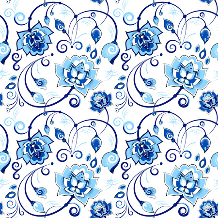 matrioshka: Floral vector seamless pattern in slavic theme, blue colors