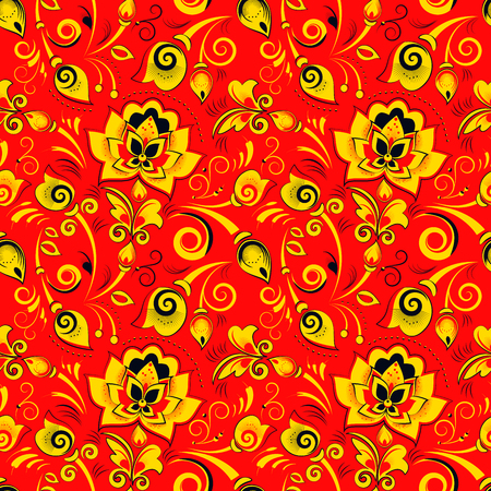matrioshka: Floral seamless pattern in russian style khokhloma on a red background Illustration