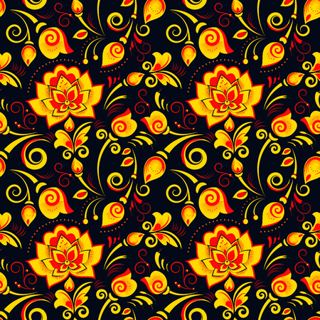 matrioshka: Floral seamless pattern in russian style khokhloma on a black background Illustration