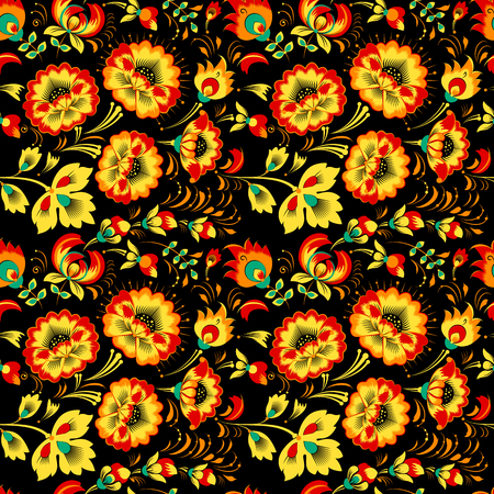 slavic: Vector floral seamless pattern in slavic style, black background