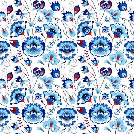 gamma: Vector floral seamless pattern in slavic style, blue gamma