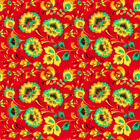 gamma: Vector floral seamless pattern in slavic style, red gamma Illustration