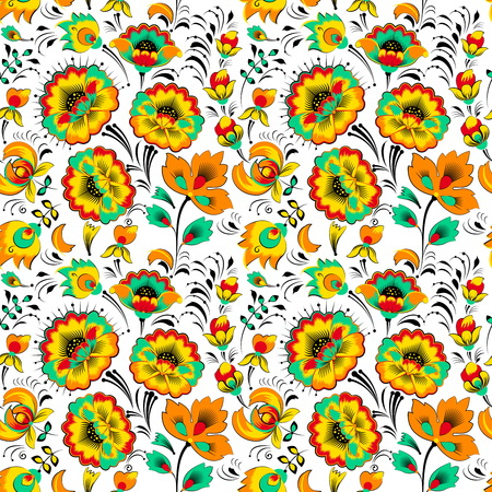 slavic: Vector floral seamless pattern in slavic style, white background