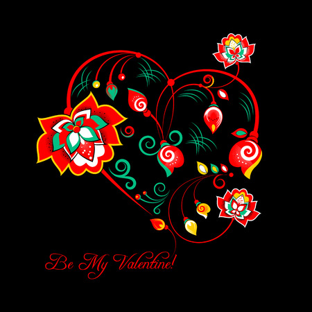 slavic: Vector Valentine card with flowers in slavic floral style Illustration