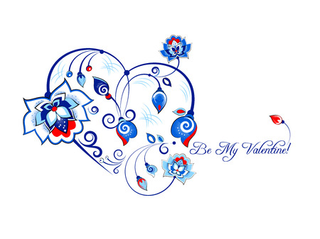 flower ornament: Vector Valentine card with flowers in slavic floral style, blue gamma